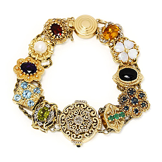 """Estate Quartz Watch Bracelet with Charms in 14kt Yellow Gold 6.75"""""""