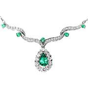 ON SALE Vintage Pear Emerald Pendant Necklace with Diamonds in 14kt White Gold 3.00ctw
