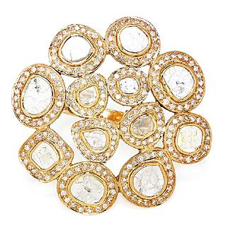 Large Estate Diamond Slice Ring with Diamond Halo's in 14kt Rose Gold Bezel Set