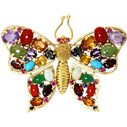 ON SALE Vintage Butterfly Brooch Pin with Gemstone Variety in 14kt Yellow Gold