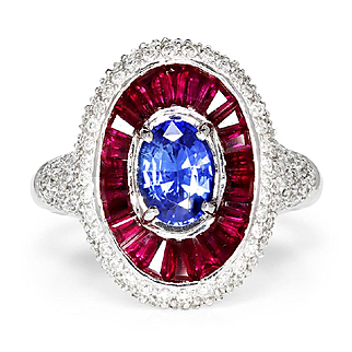 Oval Ceylon Sapphire Halo Ring with Rubies & Pave Diamonds 14K White Gold 4.17ctw
