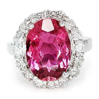 Oval Pink Tourmaline Halo Ring with Diamonds in 18kt White Gold 8.50ctw