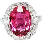 ON SALE Oval Pink Tourmaline Halo Ring with Diamonds in 18kt White Gold 8.50ctw
