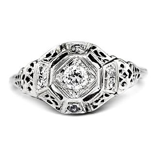 Vintage Old Mine Cut Diamond Ring 18K White Gold Open Filigree .20ctw