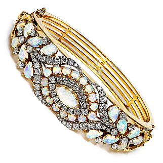 ON SALE Vintage Casbah Australian Opal Bangle with Diamonds in 14K Two Tone Gold 7.45ctw
