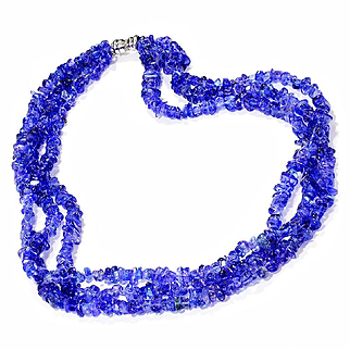 Multi-Strand Sapphire Necklace with Diamonds in an 18kt White Gold Clasp