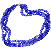ON SALE Multi-Strand Sapphire Necklace with Diamonds in an 18kt White Gold Clasp