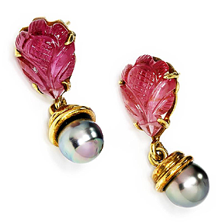 ON SALE Carved Pink Tourmaline Dangle Drop Flower Earrings with Black Tahitian Pearls 18K Gold