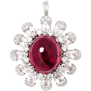 ON SALE Unique Rubellite Pendant with White Sapphire's & Diamonds 14K White Gold 8.62ctw