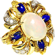 Vintage Ethiopian Opal Flower Ring with Lapis & Diamonds 18K October Birthstone 5.96ctw