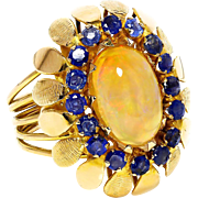ON SALE Vintage Ethiopian Opal Ring with Sapphires 18K Yellow Gold October Birthstone 5.67ctw