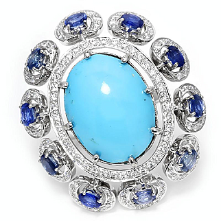 ON SALE Large Turquoise Cocktail Ring with Sapphires & Diamonds 14kt White Gold 13.00ctw