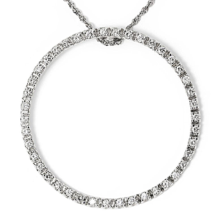 "Round Diamond Circle of Life Eternity Pendant 14K White Gold 1.25ctw 1.50"""
