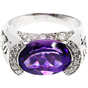 Tension Set Oval Amethyst Cocktail Ring with Diamonds 18K White Gold 5.75ctw