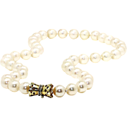 """Vintage Cultured Pearl Princess Necklace Strand 18"""" 14k Gold with Diamonds 8.5-9MM"""