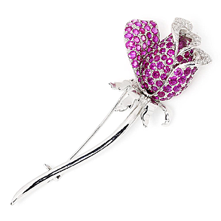 Estate Flower Rose Brooch Pink Sapphire Pin with Diamonds 18K White Gold 5.00ctw
