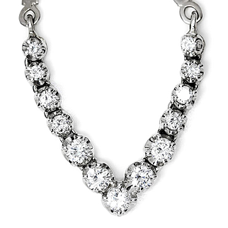 Round Diamond V Style Pendant Necklace Herringbone 14kt White Gold 1.00ctw
