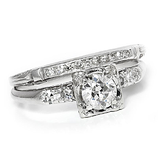 Vintage Art Deco European Diamond Engagement Ring Set in Platinum .75ctw