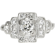 ON SALE Vintage Art Deco Diamond Engagement Ring with Accents in 14kt White Gold .35ctw