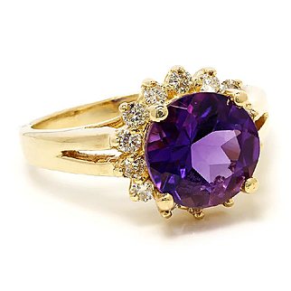 Estate Amethyst Halo Ring with Diamonds in 14kt Yellow Gold 2.75ctw