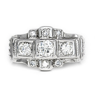 Vintage 3 Stone Diamond Engagement Ring with Accents in 8kt White Gold .75ctw