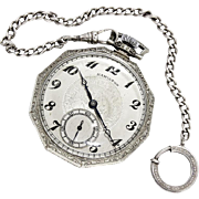 Hamilton 14K Gold Filled Open Face Pocketwatch with Sterling Chain