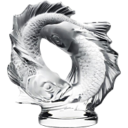 ON SALE Lalique French Crystal Deux Poissons Pisces Sculpture 17.5 lbs