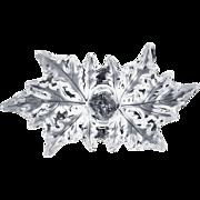 Lalique French Crystal Leaf Bowl Centerpiece Champs-Elysées, Clear