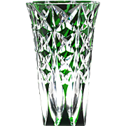 "Vintage Saint Louis French Crystal Vase Green Cut to Clear 11.75"" Tall"