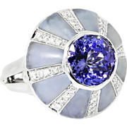 Oro Trend Tanzanite Ring with Lavender Jade & Diamonds in 18kt White Gold 5.69ctw