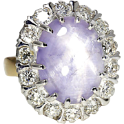 Estate Star Sapphire Halo Ring with Diamonds in 18kt Two Tone Gold 13.25ctw