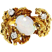 Vintage Australian Opal Nugget Ring with Diamonds 18K Yellow Gold 1.15ctw