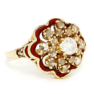 Antique Round Diamond Ring with Rose Cut Diamonds in Red Enamel & 14K Gold .90ctw