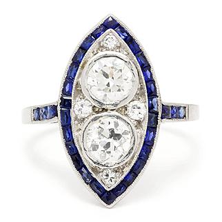 Vintage Art Deco European Double Diamond Ring with Sapphires in Platinum 1.20ctw