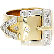 Estate Belt Buckle Ring with Diamonds in 14kt Two Tone Gold .40ctw