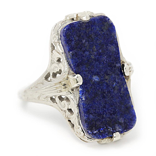 Antique Lapis Lazuli Filigree Ring in 14kt White Gold Rectangular Art Nouveau