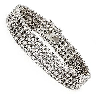 Round Diamond Wide Tennis Bracelet Multi-Row in White Gold 9.82ctw