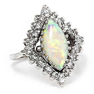 ON SALE Vintage Ethiopian Opal Halo Ring with Diamonds 14K October Birthstone 2.00ctw