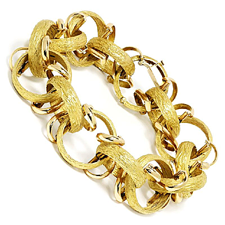 Large Estate Hoop Link Bracelet in Heavy 18kt Yellow Gold Bark Finish