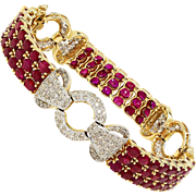 Vintage Ruby Link Bracelet with Diamonds in 14K Two Tone Gold 19.50ctw