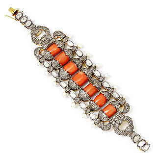 Vintage India Coral Bracelet with Diamonds & Pearls Sterling with Gold Overlay 7.00ctw