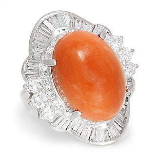 Salmon Coral Ballerina Ring with Diamonds in Platinum 15.84ctw