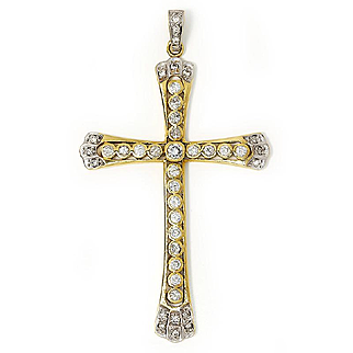 Vintage Diamond Cross Pendant in 18kt Two Tone Gold 2.00ctw Religious Jewelry