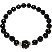 Estate Black Onyx Choker Necklace with Diamonds & Mother of Pearl .30ctw 14.75""