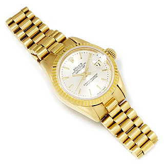 Ladies Rolex Datejust President 18kt Yellow Gold Silver Dial 69178 Quickset