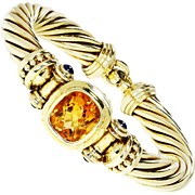 ON SALE David Yurman Gemstone Cable Bracelet with Citrine and Sapphire's 14kt Gold 9.85ctw