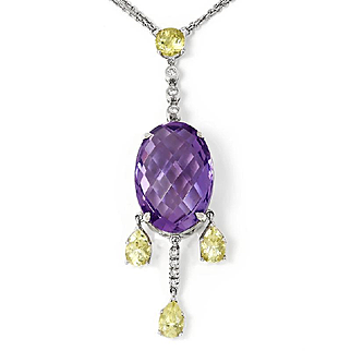 Amethyst Pendant Necklace Chandelier with Lime Quartz & Diamonds in 18kt Gold 12.76ctw