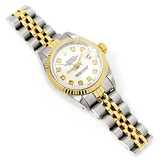 Ladies Rolex Datejust Two Tone Jubilee Diamond Dial '89 69173 26MM