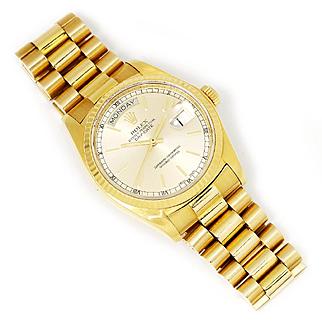 Men's Rolex President Day-Date 18K Yellow Gold '81 18038 36MM Single Quickset