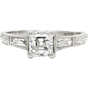 Asscher Diamond Engagement Ring w/ French Accents Platinum by Sheldon Speyer 1.00ctw